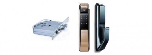 Замок Samsung SHS P718 черный/коричневый врезной электронный биометрический